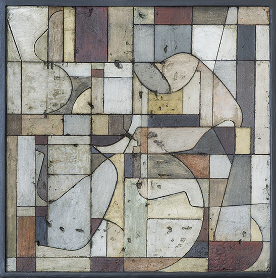 Tanya Bonello, Cubist space1 400x0400mm, gypsum and oil on board, 2013