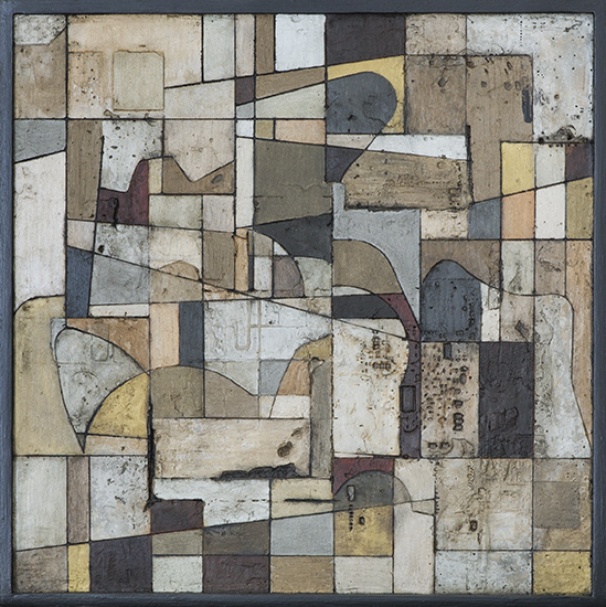 Tanya Bonello, Cubist space2 400x400mm, gypsum and oil on board, 2013