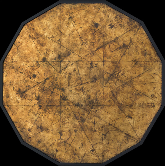 Tanya Bonello, Dodecagon Palimpsest 860x860mm, gypsum, gold leaf and oil on board, 2014