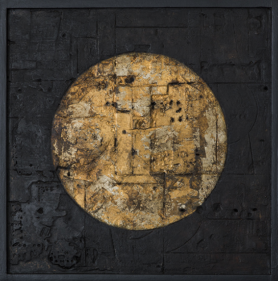 Tanya Bonello, Gold circle 300x300mm, gypsum, gold leaf and oil on board, 2014