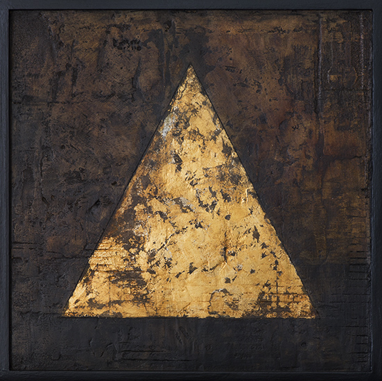 Tanya Bonello, Gold triangle 300x300mm, gypsum, gold leaf and oil on board, 2014