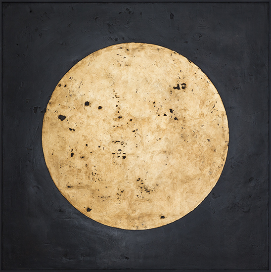 Tanya Bonello, Homage to the sun, 1000x1000mm, gypsum and oil on board, 2013