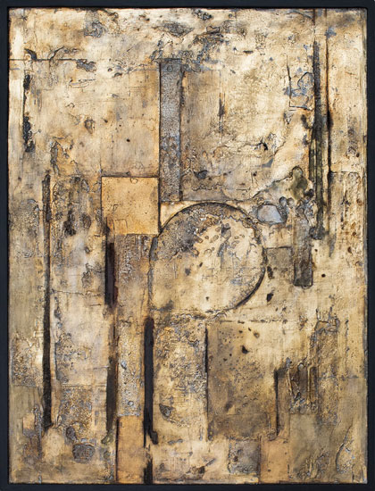 Tanya Bonello, Square Rectangle Circle, 600x450mm, gypsum, gold leaf and oil on board, 2012