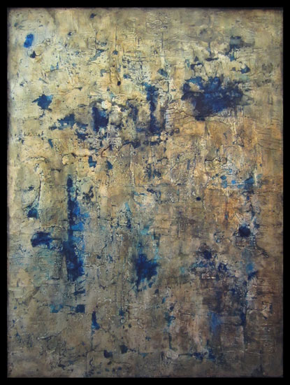 Tanya Bonello, Blue Gold, 600x450mm, gypsum, gold leaf and oil on board, 2012