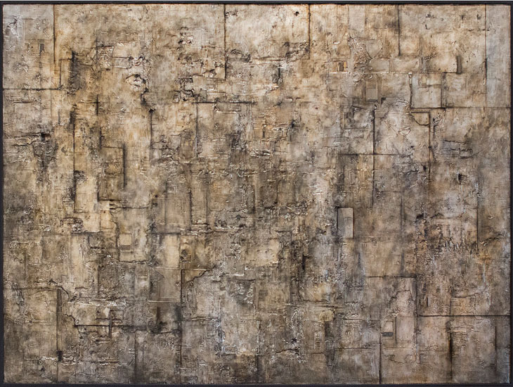 Tanya Bonello, Quondam 1015x1360mm, gypsum, silver leaf and oil on board, 2012
