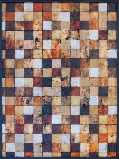 Tanya Bonello, 192 Squares 29 Rectangles, 600x450mm, gypsum and oil on board, 2012
