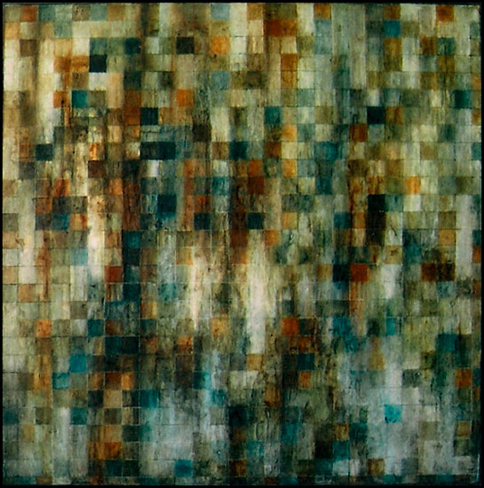 Tanya Bonello, Rain, 1000x1000mm, gypsum and oil on board, 2004